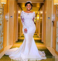 Wholesale sweetheart neckline trumpet wedding dress - 2017 Nigerian Wedding Dresses Sweetheart Neckline with Sheer Lace Appliqued Long Sleeves Chapel Train Length African Black Girl Bridal Gown