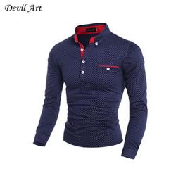 Wholesale British Dress Shirts - Wholesale- 2017 Men's Long Sleeve Dress Shirts British Fashion Wave point of men's slim Casual Brand Shirt size:M~XXL Free Shipping 7519