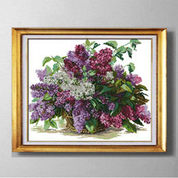 Wholesale Cross Stitch Print - Lilac, Best gift Cross Stitch kits needlework Sets embroidering Pattern Printed on fabric DMC 11CT 14CT ,Flowers house Series Home Decor