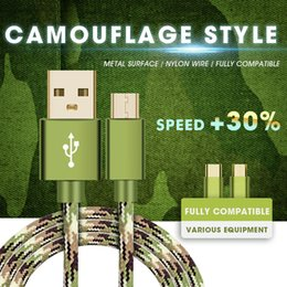 Wholesale Nylon Iphone - Camouflage S8plus Micro USB Cable Braided Nylon Type C Fast Charging Andriod Cable USB Data Charger For Samsung S8 HTC LG