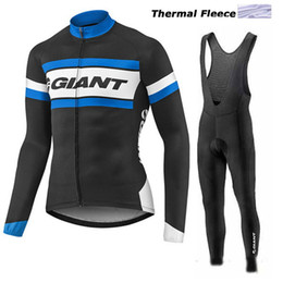 Wholesale Giant Cycling Thermal Clothing - 2017 giant winter thermal fleece cycling jerseys long sleeve bicycle mtb bike winter cycling clothing sport kits bicycle men wear AK-80