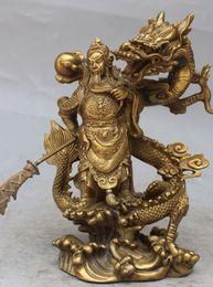 """Wholesale Chinese Guan Gong - 10""""Chinese Fengshui Bronze Guan Gong Yu Warrior God Sword Stand in Dragon Statue HGIK"""
