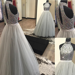 619eb1ab431 2017 Silver Grey Ball Gown Prom Dresses High-Neck Fully Beaded Bodice Tulle  Skirt Sexy Open Back Floor Length Prom Party Gowns for Evening
