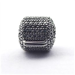 Wholesale Clip Lock Beads Round - 2017 Summer Micro Pave Barrel Clip Charm Beads 925-Sterling-Silver AAA CZ Brand Logo Stopper Lock Bead Diy Bangles Bracelets Jewelry HB693