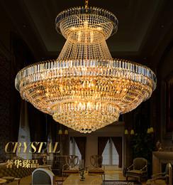 Wholesale Rustic Light Fixtures - LED Modern Gold Crystal Chandeliers Lighting Fixture Round Crystal Chandelier Droplight Home Indoor Hotel Restaurant Big Crystal Lamp D140cm