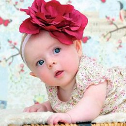 Wholesale Accessories For Hair Childrens - Big flower baby headbands lace Infant girls hair accessories Childrens Accessories Headbands For Girls Hair ribbon floral headband A477