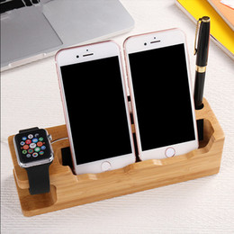 Wholesale Station For Mobile - Wooden Charging Dock Station Mobile Phone Holder Stand For iPhone 7 Plus 6 6S Plus 5 5s SE For iWatch Cellphone Holder Stand