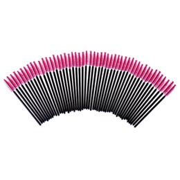 Wholesale Eyelash Extension Silicone - Wholesale- 50pcs lot Silicone Hotpink Eyelash Eye Lash Makeup Brush Set Applicator Disposable Extension Tool Beauty Cosmetic Makeup Tools