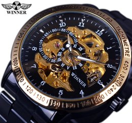 Wholesale Mens Golden Wrist Watches - Winner Retro Classic Scale Golden Case Small Dial Design Relogio Masculino Mens Automatic Watches Top Brand Luxury Wrist Watch