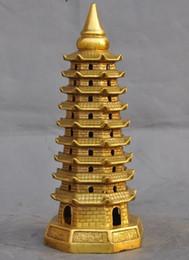 Wholesale Brass Pagoda - Tibet Buddhism Temple Brass Copper Temple Nine Floor Wenchang Tower Pagoda Stupa