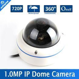 Wholesale House Cctv Outdoor - Mini CCTV Dome Fisheye 720P IP Camera 1.0MP Waterproof 360 Degree Panoramic IR-cut Support Mobile View Metal Housing