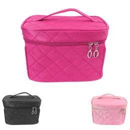 Wholesale Vintage Toiletry Bag - Wholesale- Women Makeup Organizer Bag Girls Cosmetic Bag Vintage Plaid Toiletry Travel Trunk Bag Box Neceser Pouch Clutch Handbags