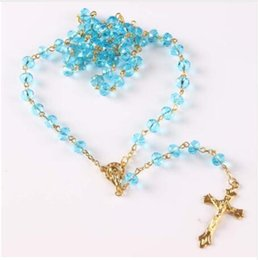 Wholesale Blue Crystal Cross Pendant - Necklace Religious Christian Ornaments Cross high quality crystal beads Rosary blue color