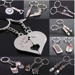 Wholesale Heart Keychain Ring - New llaveros keyboard keychain fashion porte clef heart kiss love couple Keychain key ring comb hat Scissor whistle Chaveiros