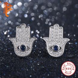 Wholesale Crystal Blue Stud Earrings - BELAWANG Original 925 Sterling Silver Blue Evil Eye Hamsa Hand Stud Earrings For Women with Clear CZ Crystal Earrings Jewelry Gift