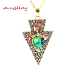 Wholesale Gold Charm Christmas Tree - Necklaces & Pendants Mixed Color Crystal Diamond Druzy Pendant Necklace Gold Plated Christmas Tree Pendant Fashion Women Mens Jewelry