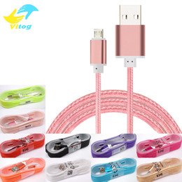 Wholesale C Metal - 1.5M Long Strong Braided USB Charging Cable For type-c Samsung s7 s8 plus HTC Sony LG Micro USB Wire With Metal Head Plug USB