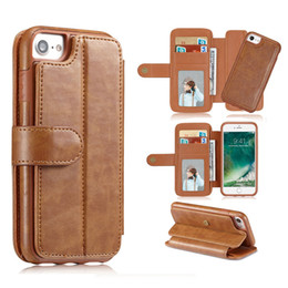 Wholesale Galaxy Folio Case - For iphone X 8 7 Flip Magnetic Detachable Folio Wallet Leather Phone Case Cover Card Holder phone For Samsung Galaxy S8 Plus
