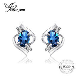 Wholesale Blue Topaz Earrings Oval - JewelryPalace Oval 1.1ct Natural London Blue Topaz Stud Earrings Genuine 925 Sterling Silver 2016 New Fine Jewelry For women