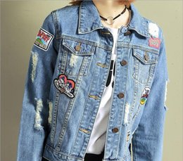 Wholesale Korean Jacket Female - 2017 new hole denim jacket female short sleeved badge in spring and autumn, the Korean version of the BF all-match loose women's clothing