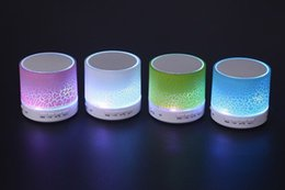Wholesale Button Textures - Upgraded A9 Crackle Texture Portable Mini Bluetooth Wireless Speaker with LED Light Insert U Disc for iPhone Mobile Phone Player