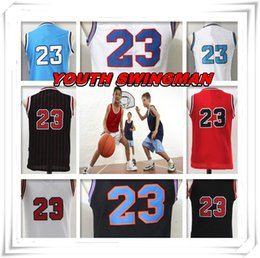 Wholesale Christmas Gift Boy - YOUTH KID Children Stitched Swingman Christmas Birthday Gift Michael Tune Squad 23 Jersey Throwback jerseys Sport Space Jam Hot Sale