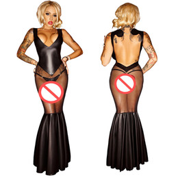 Wholesale Exotic Mermaid Dress - Sexy Mesh Patchwork Mermaid V-neck Long Dress Exotic Women Transparent Nightclub Outfit Backless Nightwear With G-String