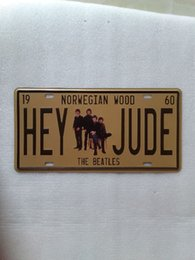 Wholesale Art Wall Plaque - Hey Jude The Beatles vintage Metal Plaque Car Number Retro Licence Plate Tin Sign Bar Pub Home Cafe Wall Decor Retro Metal Art Poster