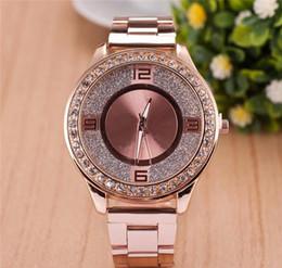 Wholesale Wholesale Diamond Watches Men - Fashion Rhinestone Diamond inlay large letters Clock dial Large dial Man Woman Quartz Watches wholesale Free Shipping