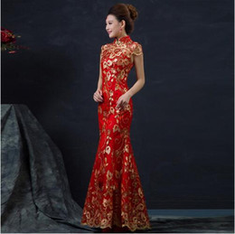Wholesale Gold Cheongsam Wedding Dress - Red Chinese Wedding Dress Female Long Short Sleeve Cheongsam Gold Slim Chinese Traditional Dress Women Qipao for Wedding Party 8