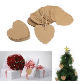 50pcs Kraft Paper Christmas Tree Hang Tags Christmas Decor Gift Tags Cards Grace