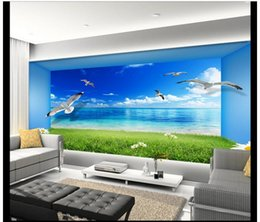 Wholesale Vintage House Beautiful - High Quality Custom 3d photo wallpaper murals wall paper sitting room TV setting wall is beautiful sea view 3 d space wall room decor