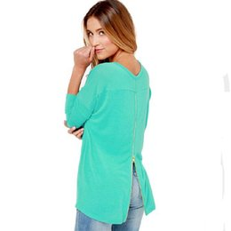 Wholesale Mint Green Coat - Wholesale- Europe Women Fashion Brands Long Sleeve Casual Sweatshirt Back Zipper Sexy Hoodies Mint Green Autumn Ladies Pullovers Coat 30130