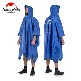 Wholesale Backpack Raincoats - Wholesale- Naturehike Hot Single Person Sunshade Raincoat Backpack 3 in 1 Portable Hiking Poncho Sun shelter Poncho MINI Tarp Camp Mat