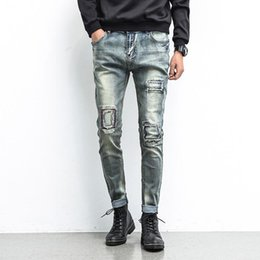 Wholesale Cheap Plus Size Mens Clothes - Wholesale-New Style Patchwork Mens Jeans Straight Regular Fashion Cheap Small Straight Mens Jeans Brand Clothing Cotton Mens jeans China