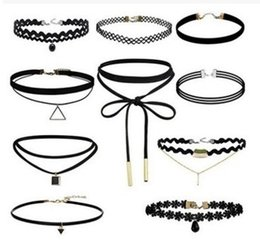 Wholesale Wholesale Leather Lace For Jewelry - Handmade 80S 90S Gothic Collar Jewelry Black Torques Set Alloy Velvet Lace Chokers Necklaces Chokers for Women
