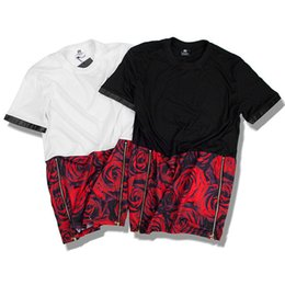 Wholesale Rose Zip - Man Si Tun Summer Hip Hop unisex EXO right Zhilong Rose Graphic Extra Long T shirt Tyga Paisley Side Zip hba t shirt Men women