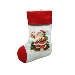 recycled decor Promo Codes - Wholesale-Candy Gift Bag Christmas Gift Merry Christmas Santa Claus Snowman Sock Decor u61003