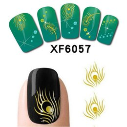 Wholesale Gold Water Decals Nail - Wholesale- 1 Sheets 3d Design Gold Peacock Feather Nail Wraps Water Transfers Stickers Decals DIY Nail Glitter Tips Manicure Tools #XF6057