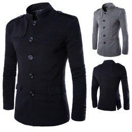 Vestiti del collare cinese del mens online-Wholesale- New Arrivals Men Casual Stand Collar Chinese Tunic Suit Blazer Jackets Single Breasted Denim Slim Jacket and Coat Free shipping
