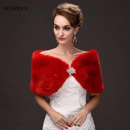 Wholesale Boleros Girl - Girls Winter Cape Red Evening Shawl Short Women Wedding Bolero Formele Avond Wraps Warm Faux Fur Bridal Wraps
