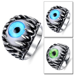 Wholesale Gothic Dragon Jewelry - Vintage Men's Stainless Steel Dragon Claw Opal Eyeball Cat's Eye Rings Gothic Biker Mens Jewelry High Polish Comfort Fit