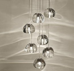 Wholesale Noble Mount - Noble Modern clear gold crystal glass sphere ball chandelier mizu pendant 3 5 7 15 26 lamp between lamp round stainless Chandeliers 110VLLFA