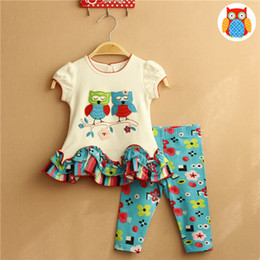 Wholesale Owl Baby Pants - Summer Princess Girls Outfits Sets Shoon Owl Animal Cute Pattern Tops Shirts + Floral Pants Leggings 2pcs Set Suits For Baby Girl A7126