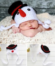 Wholesale Snowmen Knit Hats - Crochet Lovely Snowman Cap Photography Props Design Baby Hat Newborn Photo Props Knitted Baby Costume Crochet Baby Cap BP041