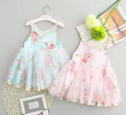 Wholesale Dresses Leopard Kids - Baby Kids Clothes Girl Dress New Flower Sleeveless Lace Suspender Dress Sweet Baby Party Princess Dress Children Clothing Kids Clothes