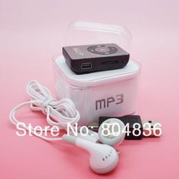 Wholesale Voice Box Music - Wholesale- Hot Sell 10pcs lot Mini Mirror Clip MP3 Music Player Gift MP3 Support Micro SD TF Card Wiht Earphone&Mini USB&Box Free Shipping