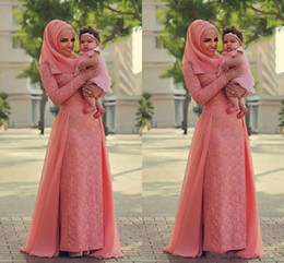 Wholesale Long Line Dress Watermelon - Watermelon Coral Lace Muslim Evening Dresses 2017 Long Sleeves Over Skirt Chiffon Elegant Formal Evening Dresses Saudi Arabic Prom Dress