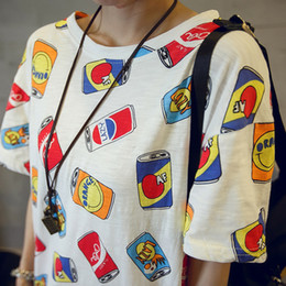 Wholesale Roupa Korean - Wholesale-2016 summer korean can print roupa tee shirt femme clothes for women female tshirts tumblr poleras camisetas mujer t-shirt