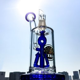 Wholesale Male Logos - Hot Sale Anchor Glass Water Bongs Recycler Glass Oil Rigs Blue Percolator DGC Logo With Dome Glass Nail 14.5mm Male Joint DGC1242